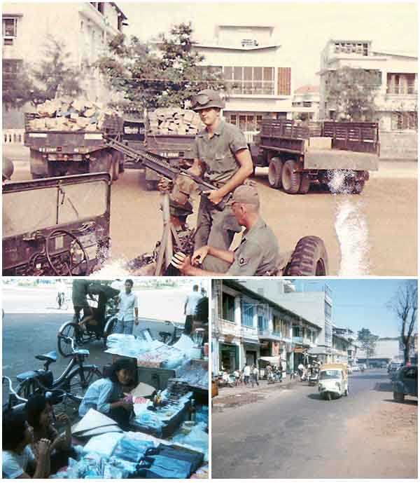 11. Top: Tom Mullen and SSgt (?) on Convoy escourt to Nha Trang Air Base. Bottom-Left and Bottom-Right: Downtown 1966 street markets.