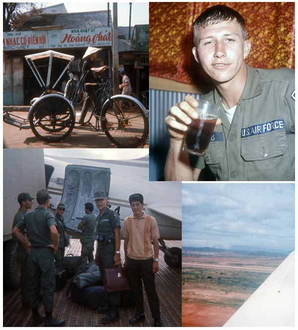 13. Top Left: Another trip downtown, for souveniers. Top Right: Nothing like a soda... Bottom-Left: Airman Bob Merril, catching a plane to catch the Freedom Bird home! Bottom-Right: 1966 - Up, Up, and AWAY from Here!