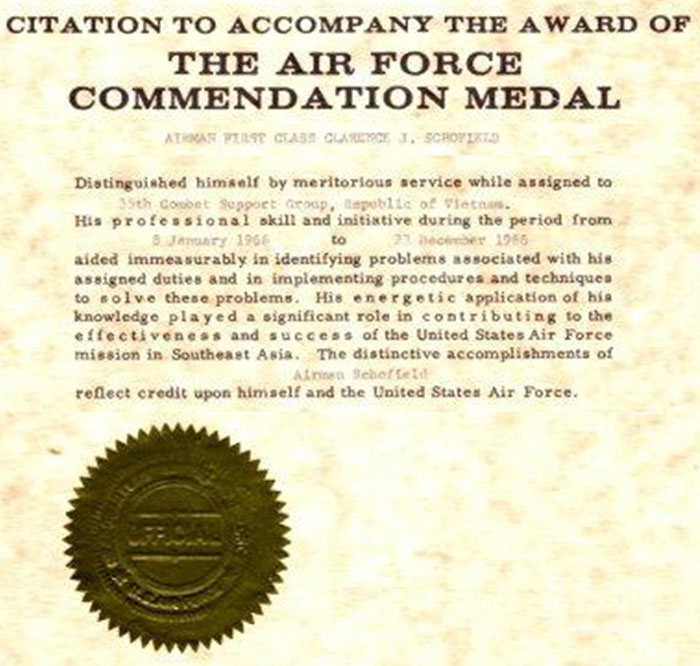 10. Air Force Commendation Medal Citation: Clarence Schofield. 1966.
