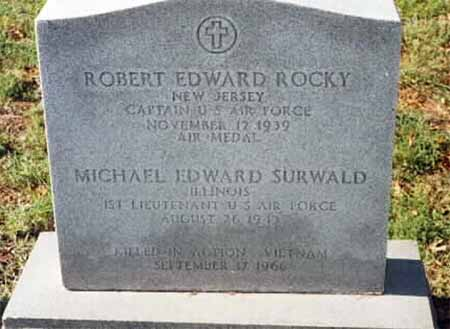 Gravestone for both Robert Edward Rocky and Michael Edward Surwald, captains, LOD 09-17-1966.