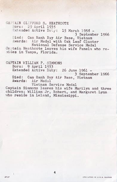 Cam Ranh Bay AB Air Base, Memorial Chapel Service brochure, 20 September 1966.