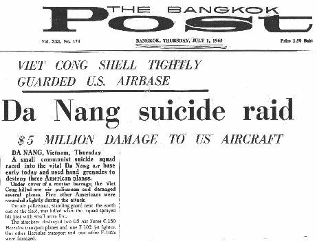 Bangkok Post Headlines: Da Nang Suicide Raid!