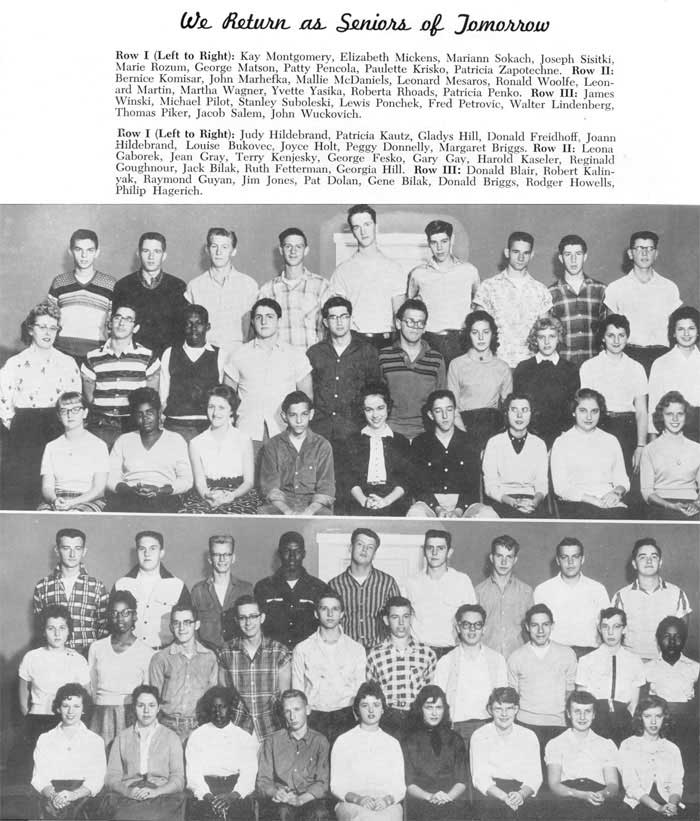 1958 Class Photo. Gary Paul Gay is in the lower photo, 2nd Row, Center.