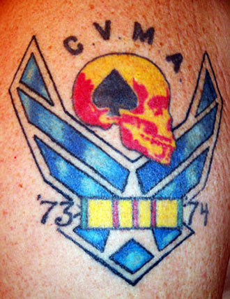 21. Allen Workman, LM 256, had tat done in 2005. Represents USAF time in NKP. Skull and Ace are for the Combat Veterans Motorcycle Assn. (above)