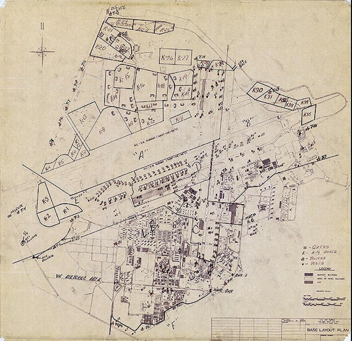 Map of 377th SPS Posts, 31 Jan 1968.