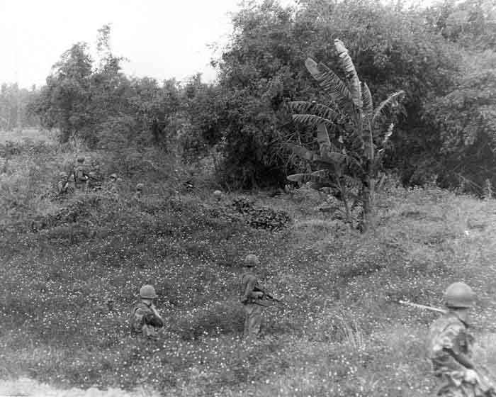 8. Photo Above: 377th APS Airmen search perimeter fields, scrub brush, heavy foialage and forest for concealed VC and NVA sappers. 600th Photo Squadron, Vietnam.