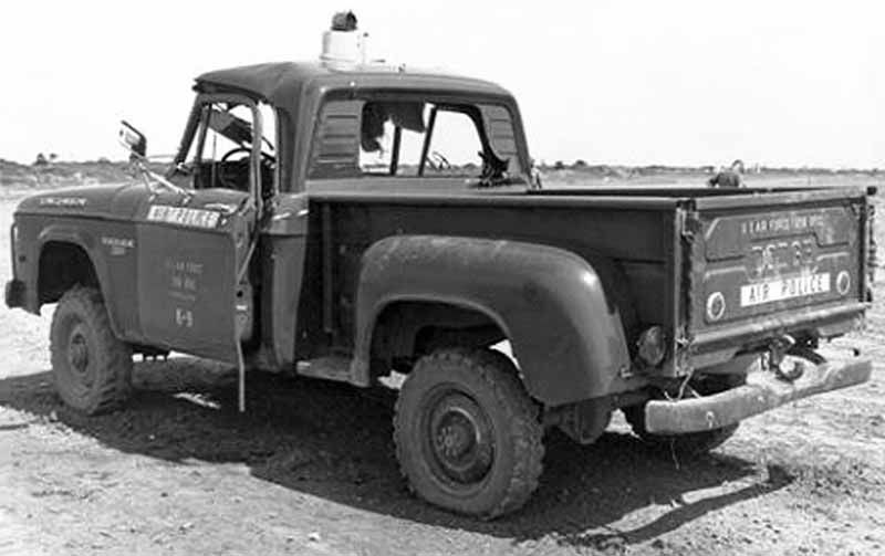 18. Battle damaged 377th Air Police Pickup Truck. Note: The busted gum-ball red light on top.