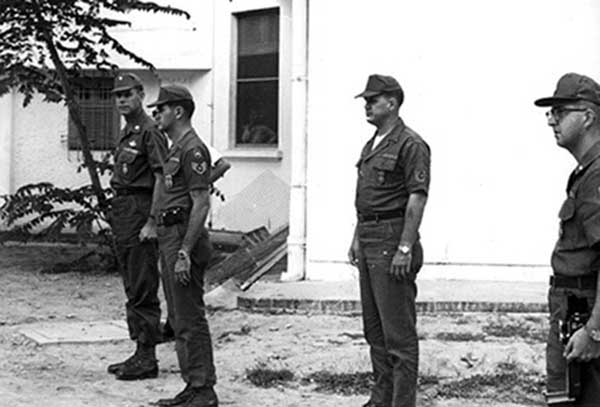 3. L to R: Lt. Col. Roger Benton, SSgt Thomas Holderness, TSgt Bobby ----; 1st Lt. R. Plantz. Photo by Kailey Wong, 1967-1968.