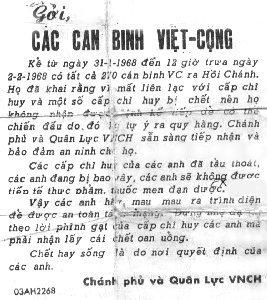 Back: Propaganda Leaflet, Appeal to Surrender, post TET 1968