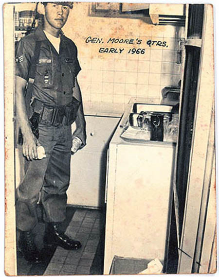 7. Tan Son Nhut AB: Genearl Moore's Quarters, early 1966. Randy Stutler gaps at camera caught redhanded drinking general's coffee. 1965-1966.