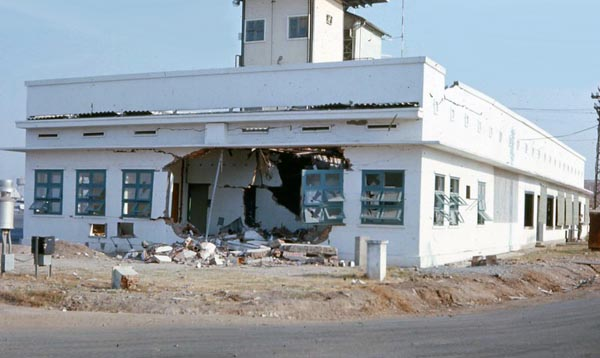 10. Tan Son Nhut AB, Control Tower. 122 mm Rocket direct hit. Photo by: unknown.
