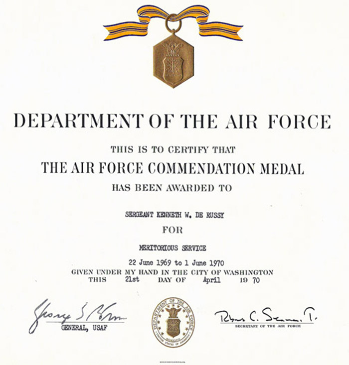 32. Air Force Commendation Medal, Awarded to Sergeant Kenneth W. de Russy / Meritorious Service.