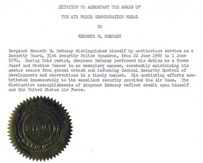 33. Citation to Accompany the Award of The Air Force Commendation Medal, to Sergeant Kenneth W. de Russy / Meritorious Service.