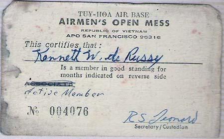 23. Airman's Open Mess Club Card.