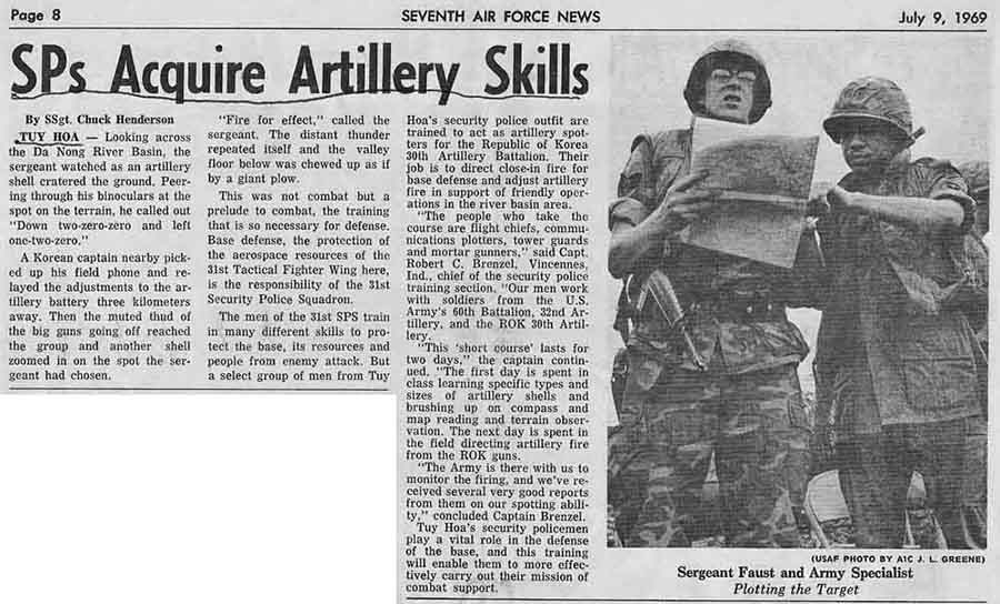 5. Tuy Hoa AB: SPs Acquire Artillery Skills. Article: Seventh AF News. July 9, 1969.