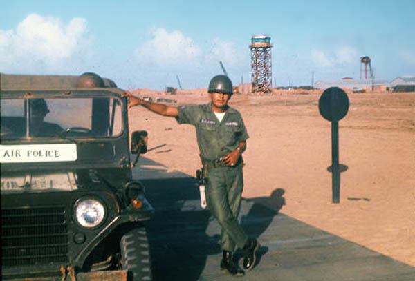 1. Tuy Hoa AB, Control Tower. Water Tower. Air Police Jeep. Photo by: Edward Barker, TUY, 1966-1967.