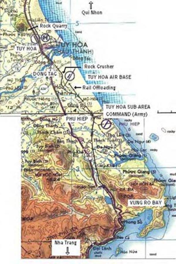 17. Tuy Hoa AB: Map. Ken deRussy. 1969-1970.