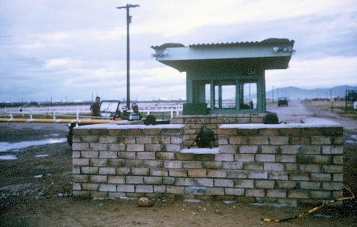 4. Tuy Hoa AB: Main Gate, south. Photo by Sgt deWhite. 1969-1970.