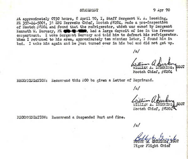 34. Statement: Letter of Reprimand.