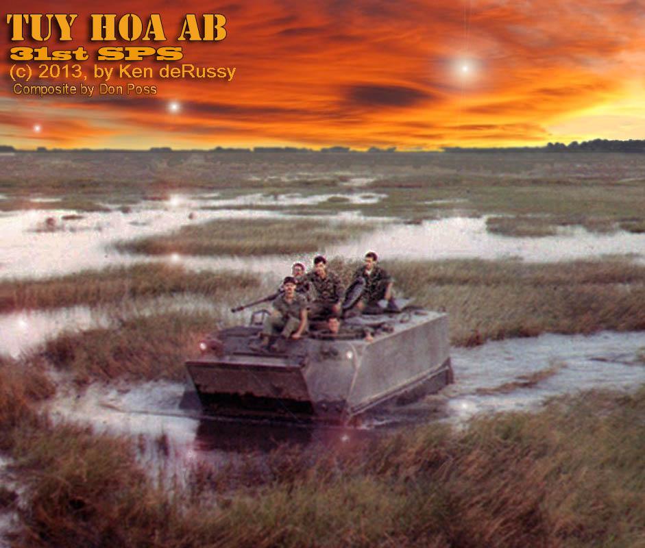 1. Tuy Hoa AB: M113 crossing rice paddy. 1969-1970.