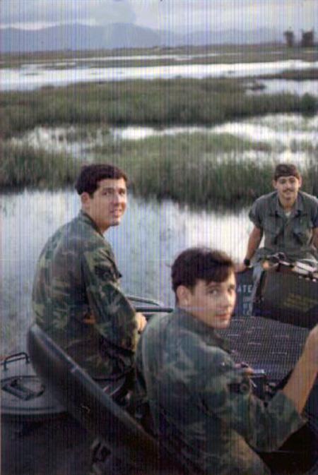 2. Tuy Hoa AB: M113 crossing rice paddy. Sapio, Respess, Sebbin, Ken deRussy. 1969-1970.