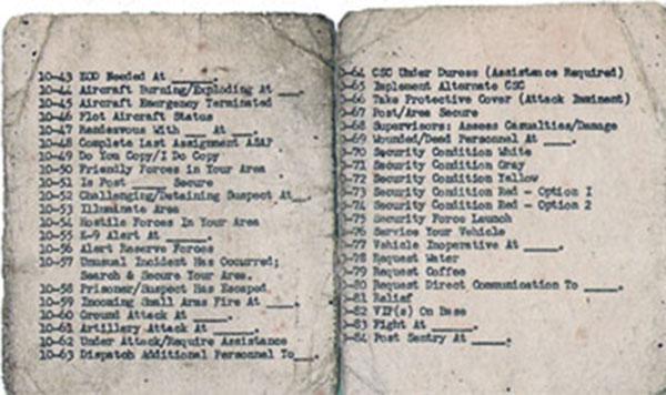 31. TEN SERIES, Radio Codes (10-43 / 10-84).