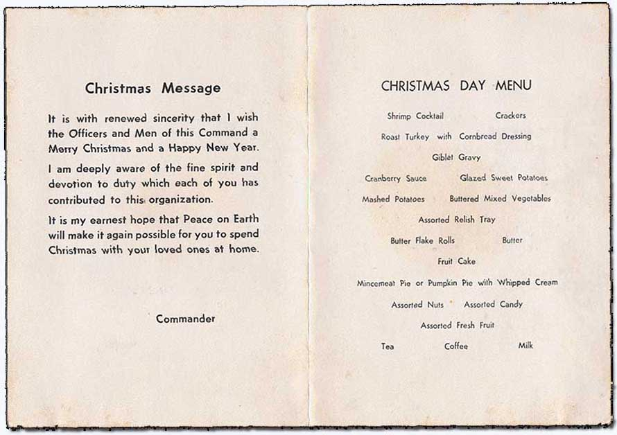 4. Ubon RTAFB, Christmas Day Card Menu and Commander's Message. Submitted by Ray Rash. 1967.