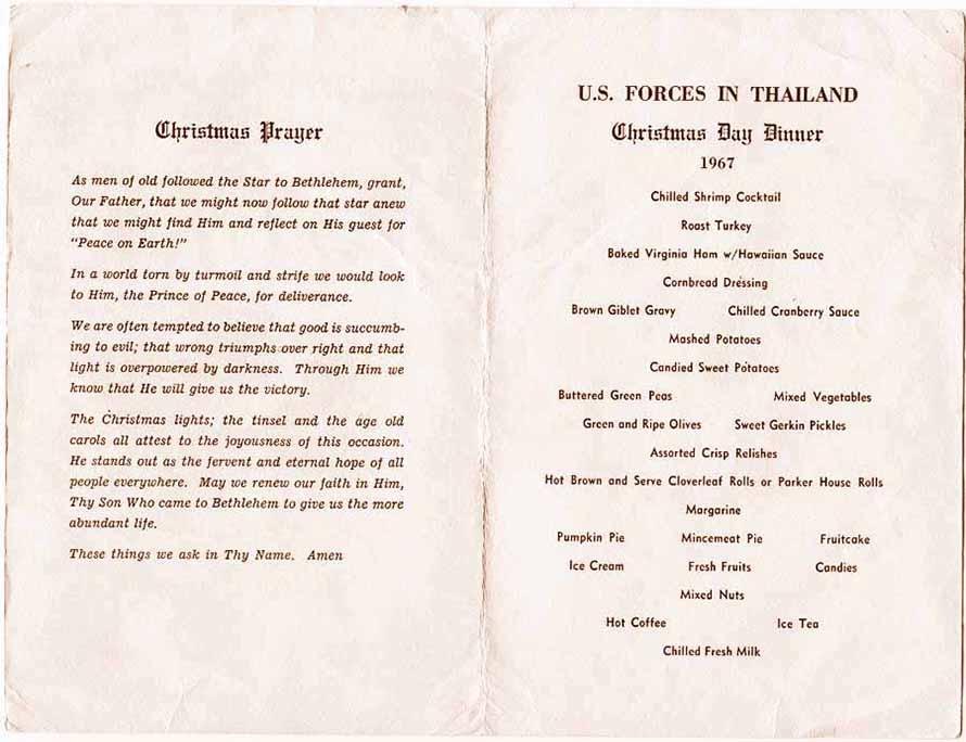 2. Ubon RTAFB, Christmas Card Menu and Prayer, U.S. Forces In Thailand. Ubon RTAFB, Christmas Card Menu and Prayer. Submitted by Ray Rash. 1967.