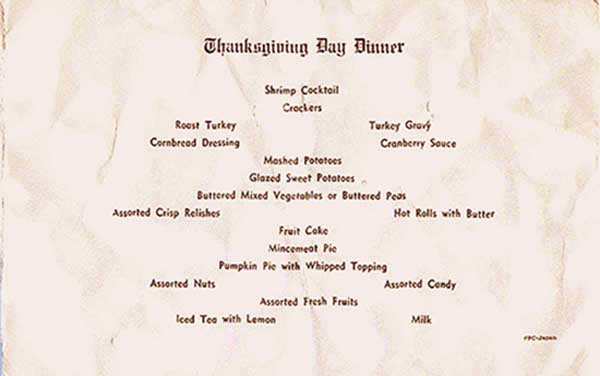 2. Ubon RTAFB, Thanksgiving Day Card Menu. Submitted by Ray Rash. 1967.