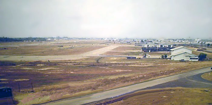18. Ubon RTAFB. Runway, Taxiway, helicopter parking, as viewed from Tower. 1970-1971. Photo by: Richard Matott, LM 307, UB, 8th SPS K9. 1973-1974.
