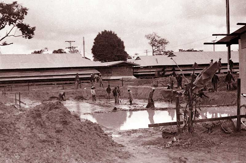 The early construction of the base swimming pool at Ubon, in 1965. It was dug by a small army of workers, using pointed sticks and baskets. I just thought it would be of interest to a few guys.