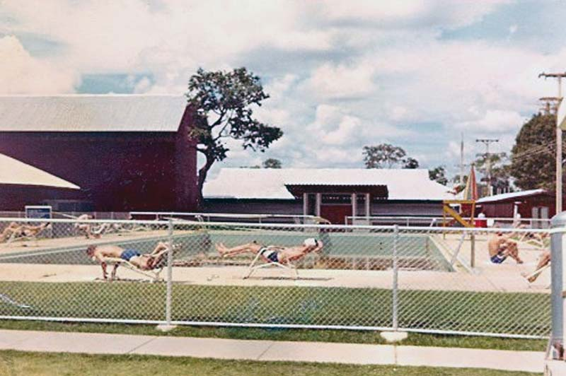 Photo of the base swimming pool. Note: There is no water in the pool! Photo by George Knowles 1967-1968..