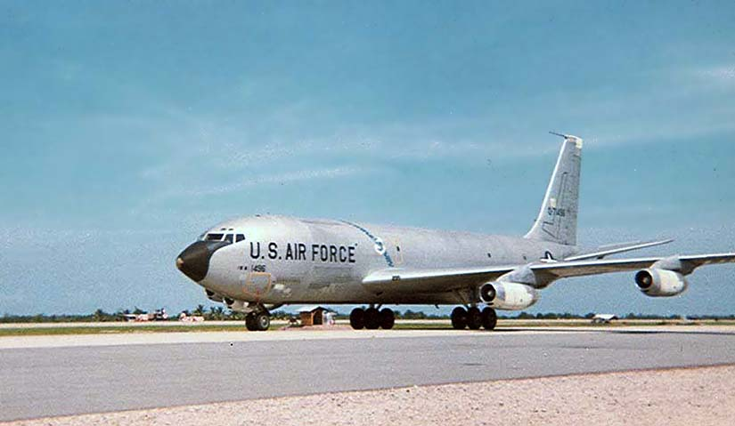 8. U-Tapao RTAFB, Perimeter Tower view. USAF 707 taxiing. Photos by William Bever, UT, 635th SPS, 1968.