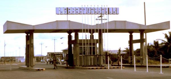 1. U-Tapao RTAFB, Main Gate. Closeup. Photographer: John M. Homa. 1970-1972.