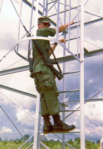 10. U-Tapao RTAFB, Perimeter Tower ladder. 1968. Photo by: William Bever, UT, 635th SPS, 1968.