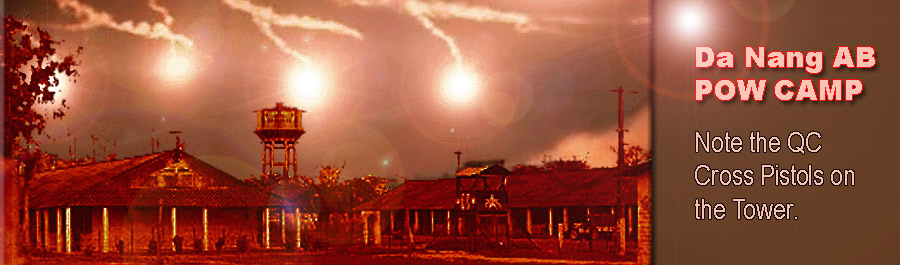 2. The Da Nang Air Base VC/NVA POW Camp, near the base's maingate, is backlit by flares during the 1966 Buddhist uprising. U.S. forces remained netural until near the end when General Ky led ARVN troops into the city of Da Nang and broke the rebellion. ARVN AF bombed pockets of resistence near the Air Base, but were very careful not to strike the base. Photo by Don Poss 1965-1966.